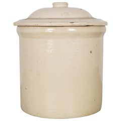 Ceramic Pickling Crock Unmarked with Lid, circa 1910