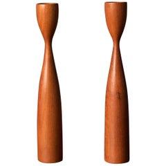 Danish Sculptural Teak Candleholders