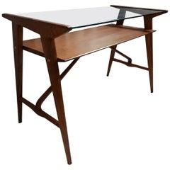 Desk, Wooden Structure and Top in Glass, 1950, Italy
