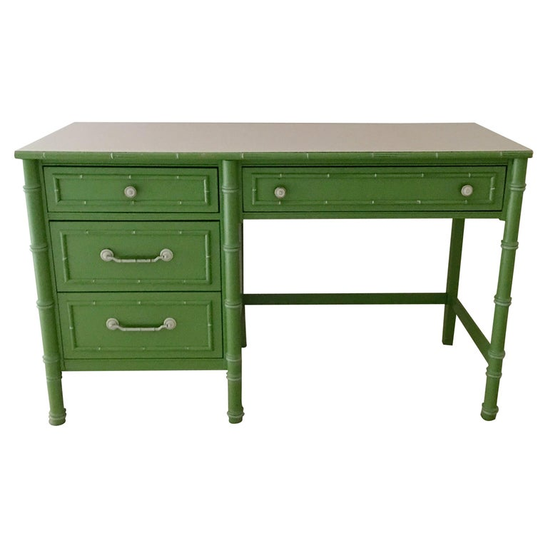 Hollywood Regency Faux Bamboo Green and White Desk by Thomasville For Sale