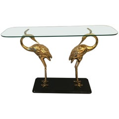 Wading Birds Console in Brass and Glass, circa 1970