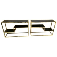 Pair of Consoles or Book Holders in Brass and Black Opaline Glass, circa 1970