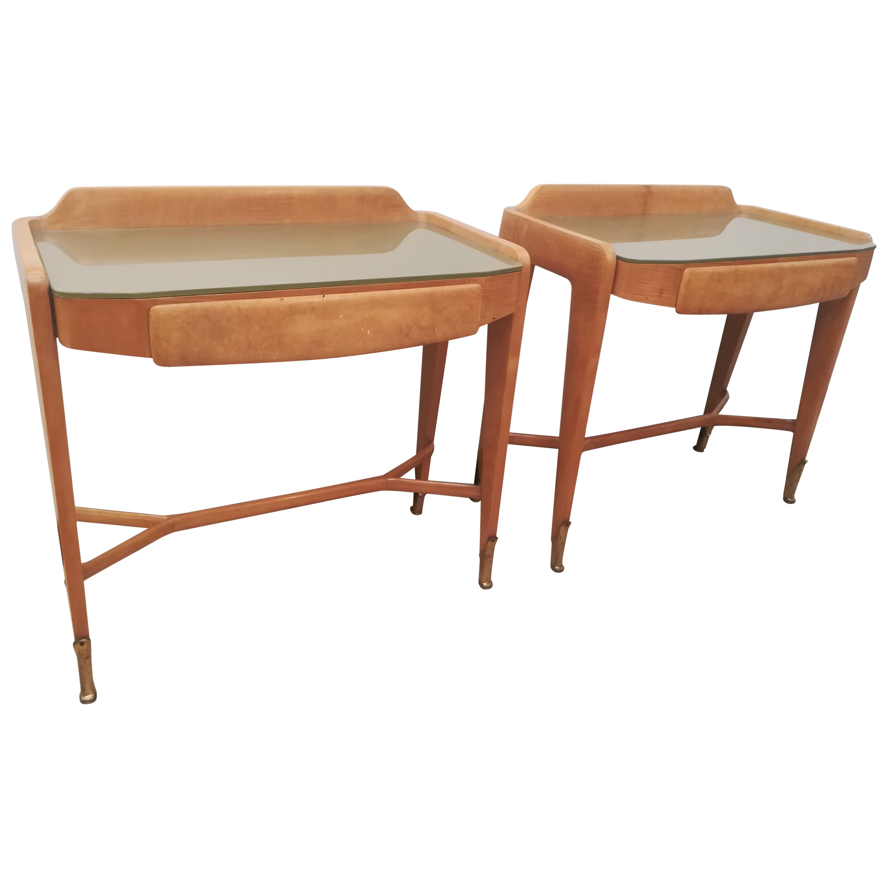 Pair of Bedsides or End Tables in Wood, circa 1950
