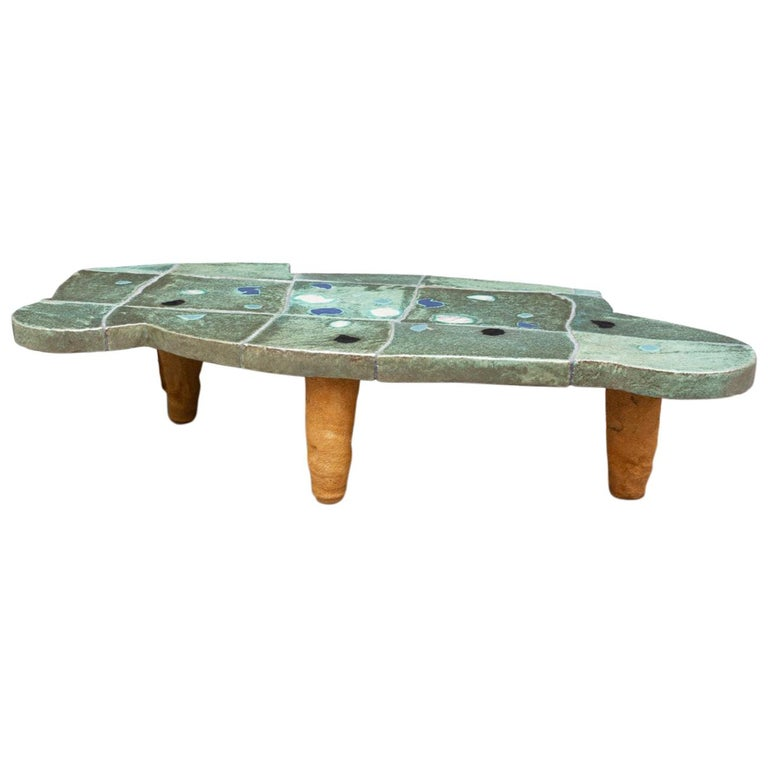 Exceptional Ceramic Coffee Table by Jean Pierre Viot, circa 2007 For Sale