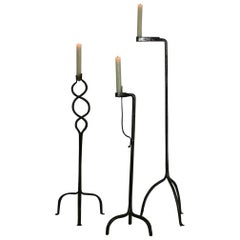 Collection of Three French 18th Century Hand Forged Iron Torcheres/Candleholders