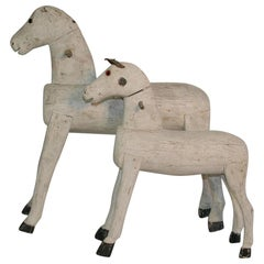 Couple of 19th Century French Painted Wooden Horses