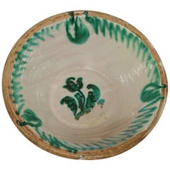 Large 19th Century, Spanish Glazed Earthenware Dairy Bowl or Tian