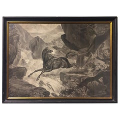 19th Century Dutch Equestrian Grisaille Painting Signed and Dated 1864