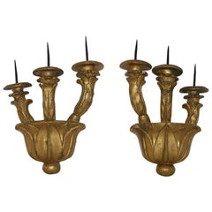 Pair of Italian 18th Century Giltwood Baroque Candleholders or Sconces