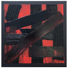 L'Intrus 10 by Liora Textured Square Abstract Canvas Black Contemporary Painting