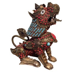 Filigree Dragon or Foo Lion with Turquoise and Coral Cabochons