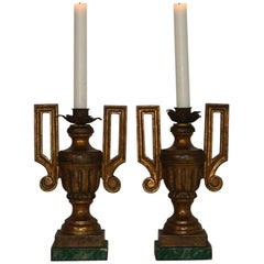Pair of Late 18th Century Italian Neoclassical Carved Candleholders