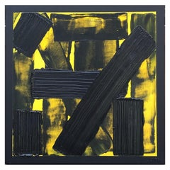 L'Intrus 12 by Liora Textured Square Abstract Canvas Black Contemporary Painting