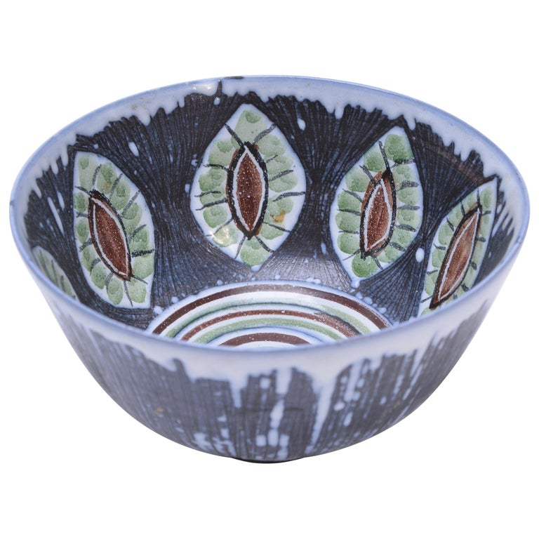 Handmade Swedish Ceramic Bowl by Alingsås Ceramic, 1960s For Sale