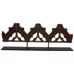 Large French Medieval Gothic Carved Oak Fragment