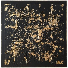 J'Adore 2 by Liora Textured Square Gold Abstract Canvas Contemporary Painting