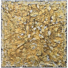 J'Adore 3 by Liora Textured Square Gold Abstract Canvas Contemporary Painting