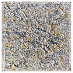J'Adore 4 by Liora Textured Square Silver Abstract Canvas Contemporary Painting