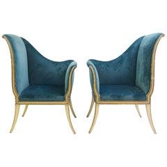 Pair of Corner Chairs - New Velvet Upholstery
