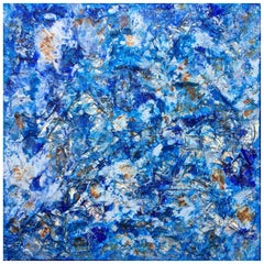 Marina 7 by Liora Textured Blue Large Abstract Canvas Contemporary Painting