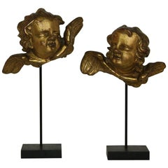 Italian 18th Century Baroque Gilded Angel Heads