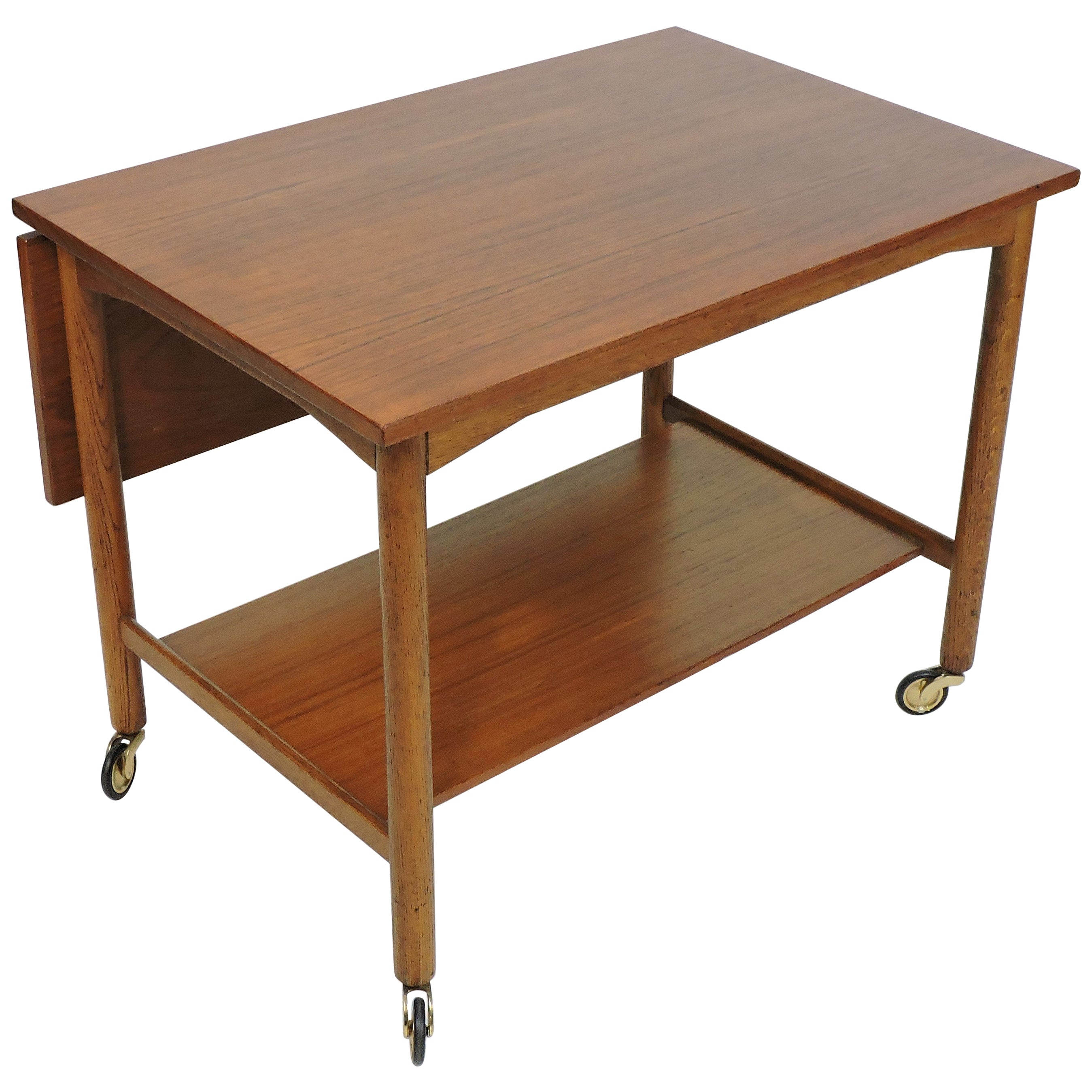 Danish Modern Scandinavian Teak Expandable Two-Tier Bar Serving Cart