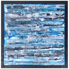 Atmosphere by Liora Relief Large Blue Grey Abstract Canvas Contemporary Painting