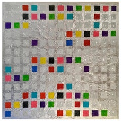 Windows by Liora Textured Silver Large Abstract Canvas Contemporary Painting