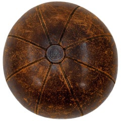 Large Leather German Medicine Ball, 1920s-1930s