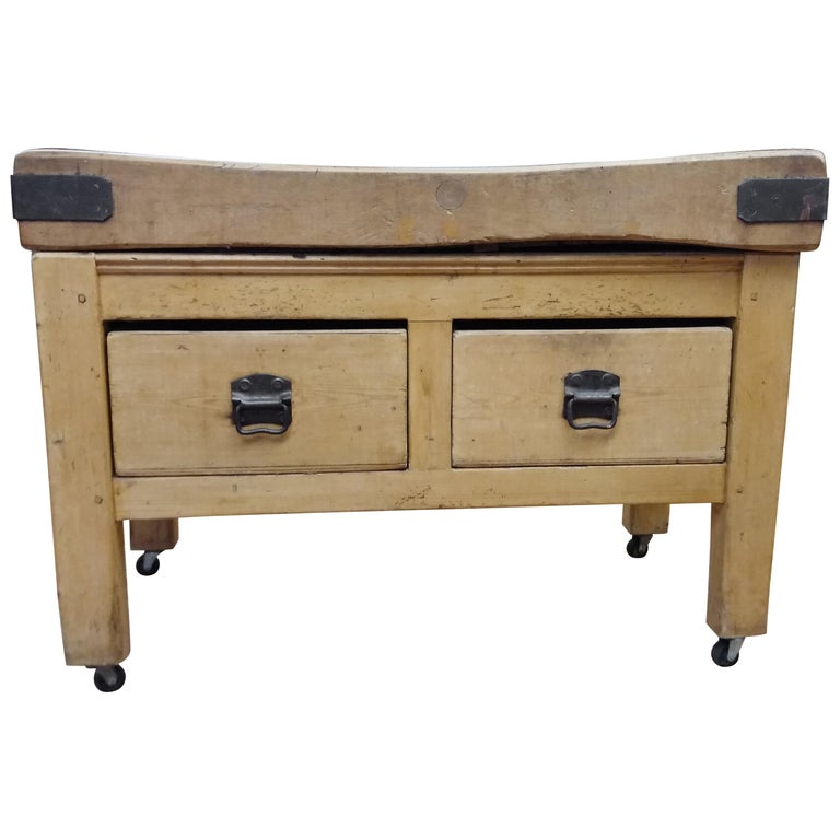 Original English Butcher Block with Two Drawers For Sale