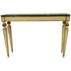1960s French Painted and Gilt Marble-Top Console