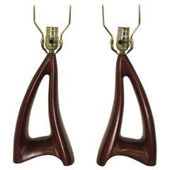 Pair of 1950s Wood Sculptural Lamps