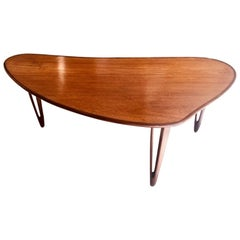 Biomorphic Danish Teak Coffee Table by B. C. Mobler