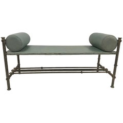 Industrial Leather Wrought Iron Bench
