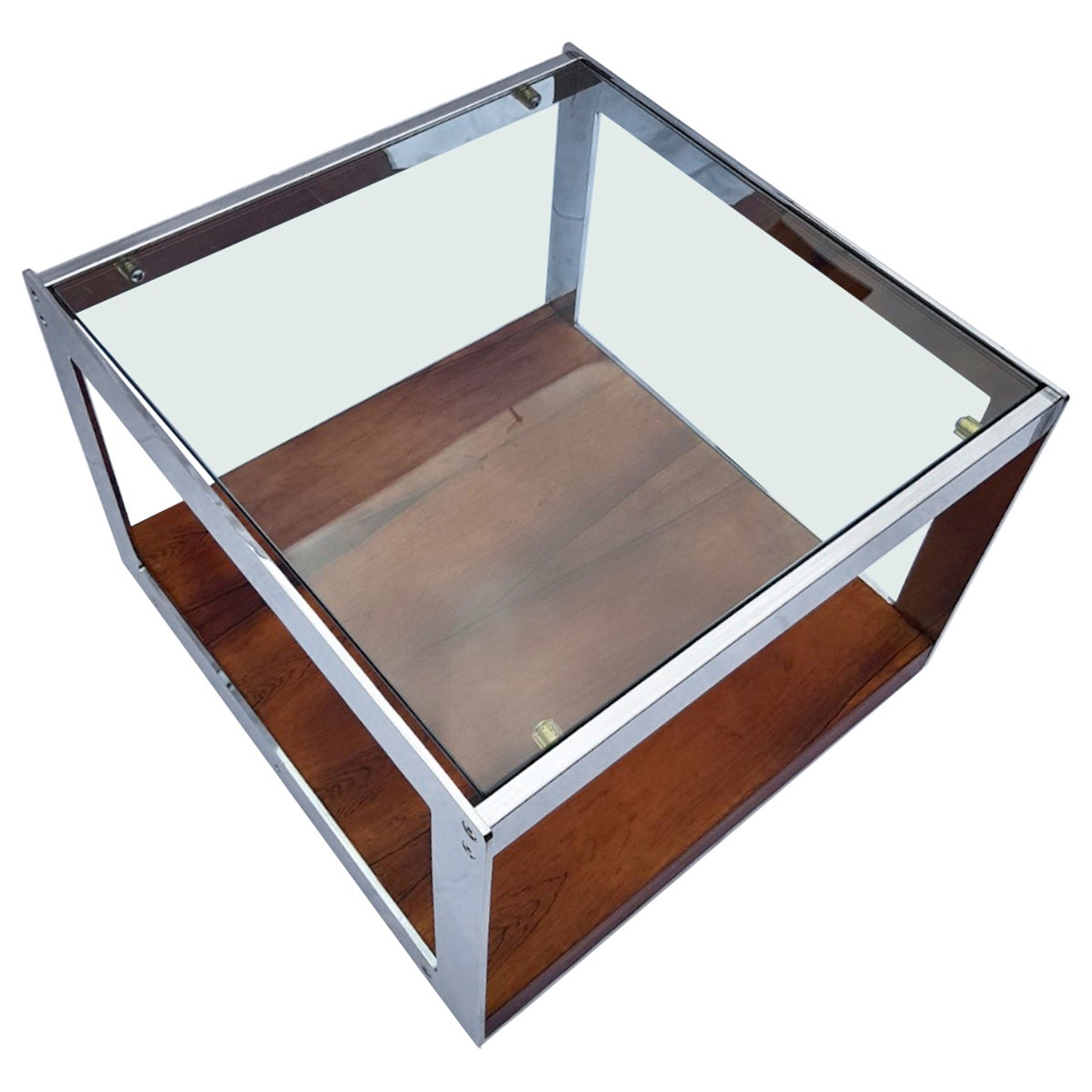 Merrow Associates Rosewood and Chrome Side Table by Richard Young, 1970s