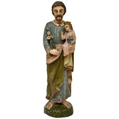 Hand Carved Wooden Sculpture of Saint Anthony of Padua