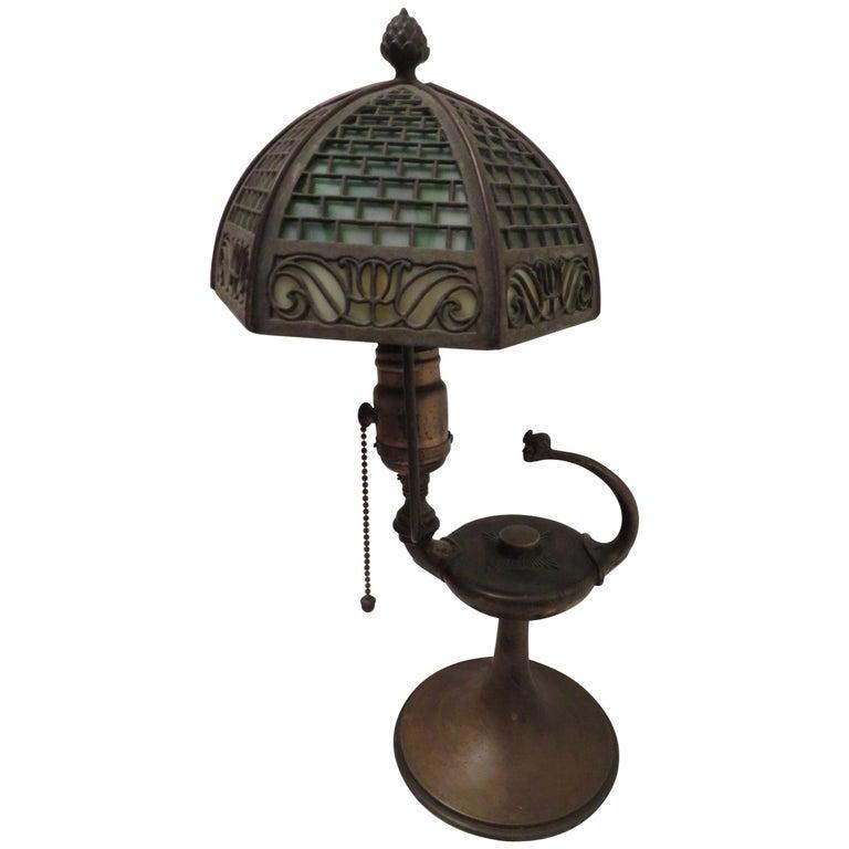 Arts & Crafts Bradley and Hubbard Brass Genie Slag Glass Lamp For Sale