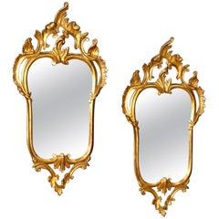 20th Century Gilded Wood Pair of Venetian Mirrors, 1980