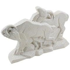 Rare Primavera Art Deco Cubist Crackle Glaze Ceramic Chamois Ibex Sculpture