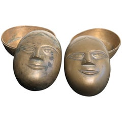 Beautiful Antique Bronze Female Beauty Box Pair, Objets d'art, Mumbai, 19THC