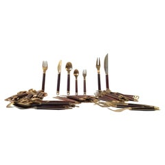 Midcentury Danish Brass and Teak Flatware Cutlery Set from Carl Cohr, Set of 55