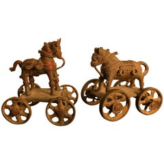 Beautiful Antique Bronze Horse Pair Temple Toys Collected Mumbai, 1960s