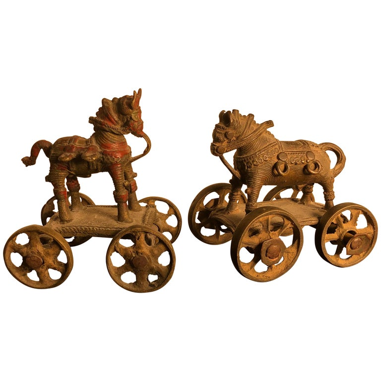 Beautiful Old Bronze Horse Pair Temple Toys Collected in Mumbai For Sale
