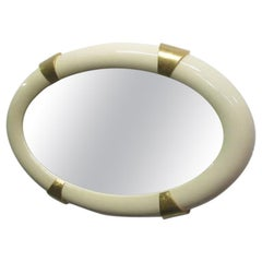 Lacquered Oval Mirror with Gold Gilt Accents