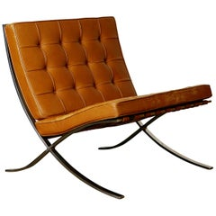 1st Generation Knoll Associates Barcelona Chair by Mies van der Rohe, Signed