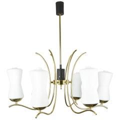 Sciolari Chandelier Brass and Opaline Glass, 1960s, Italy