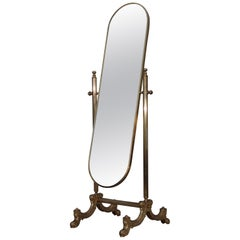 1960s French Brass Cheval Mirror