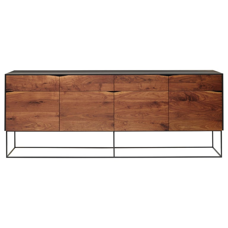 Handcrafted Rustic Modern Sideboard of Select Walnut and Black Lacquered Ash For Sale