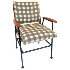 Pair of Midcentury Wood Brass and Steel Armchairs