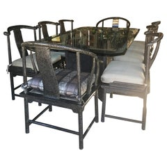 Modern Dining Room Set for 8 by Marge Carson in Tortoise Lacquer, Glass & Bronze